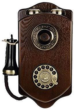 Dirgee Teléfono Fijo con Cable de Madera Rotatoria Retro Vintage con Tarjeta de Hotel inalámbrica Creativa (Color: b) (Color : A)