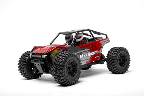 Exceed RC Scale Rock Racer Radio Car 1/16th Scale 2.4Ghz MaxRock 4WD Powerful Electric Remote Control 100% RTR Remote Control Truck RC Car Ready to Run with Waterproof Electronics (Red)