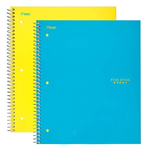 """Five Star Spiral Notebooks, 1 Subject, College Ruled Paper, 100 Sheets, 11"""" x 8-1/2"""", Teal, Yellow, 2 Pack (38440)"""