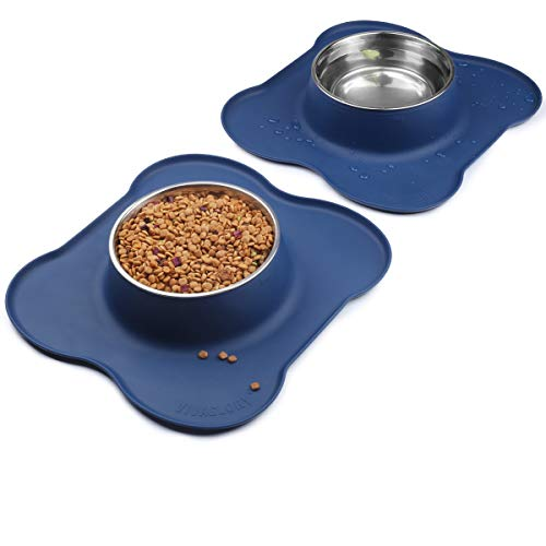VIVAGLORY Large Dog Bowls Set, 2 Pack Puppy Bowls with Non Spill Silicone Mat and Food Grade Stainless Steel Water and Food Feeding Bowl for Large Dog, Navy Blue