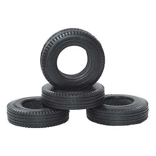 WEIZEU RC Kletteranhänger, 4 Stück RC Auto Gummi-Anhänger Reifen für 1:14 Tamiya Traktor Truck 1/14 Auto Komponenten Pull Wheel Cover, Schwarz , 1:14