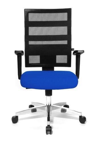 Topstar X-Pander 959TT380, Bürostuhl, Schreibtischstuhl, inkl. höhenverstellbare Armlehnen, Netzbezug, Bezugsstoff, blau/schwarz
