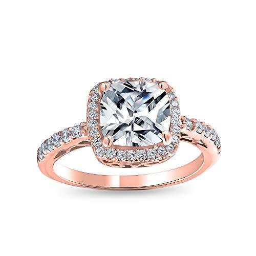 Bling Jewelry 3CT Cuscino Quadrato Tagliato Solitario Halo AAA CZ Anello Fidanzamento Sotti Fascia Pave Rose Placcato Oro Argento 925