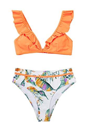 CUPSHE Conjunto de Bikini para Mujer Estampado Hojas Ruffle Cuello en V Traje de Baño de Dos Piezas, L