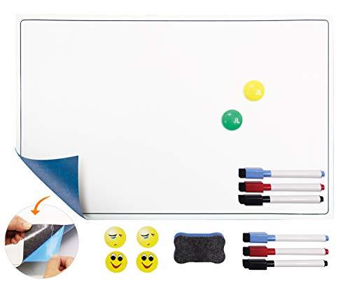 POPRUN Selbstklebende magnetische Whiteboardfolie Magnettafel Magnetfolie Memotafel, Wochenplaner trocken abwischbar für Terminplan,Essenplan und Einkaufsliste 43 x 28 cm