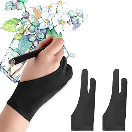 Mixoo Artists Gloves 2 Pack - Palm Rejection Gloves with Two Fingers for Paper Sketching, iPad, Graphics Drawing Tablet, Suitable for Left and Right Hand (Medium)
