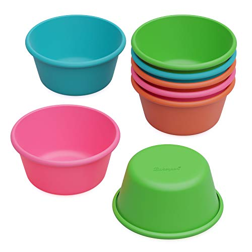 Bakerpan Silicone Mini Cake Pan, Large Muffin Cup, 3 1/2 Inch Baking Cups, Set of 8