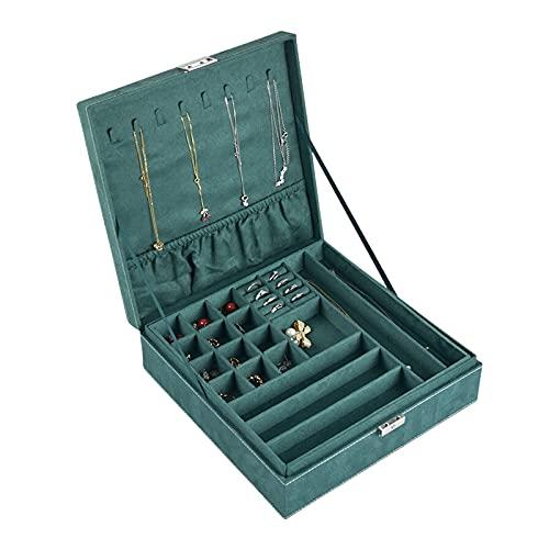 hkwshop Caja de Joyas Caja de joyería de Doble Capa Caja de Franela de Franela Mostrar Caja de Almacenamiento Grande de joyería Verde para Pendiente Collar de Anillo Pulsera Caja de Joyería
