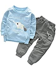 Bold N Elegant Sky Blue n Grey Cute Elephant Tail 2pc Baby Boy Girl Clothing Set Wednesday Smile Ganesha Full Length Set Tshirt Pant Set for Infant Toddler Kids