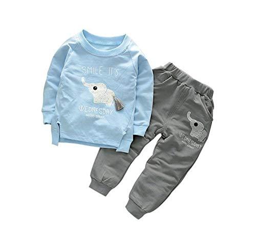 Bold N Elegant Sky Blue n Grey Cute Elephant Tail 2pc Baby Boy Girl Clothing Set Wednesday Smile Ganesha Full Length Set Tshirt Pant Set for Infant Toddler Kids (5-6 Years)