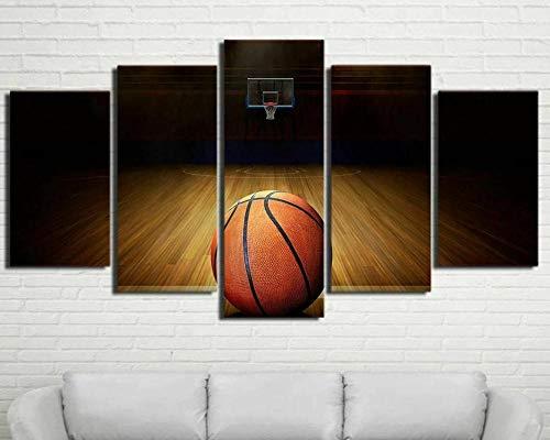 IMXBTQA Cuadro En Lienzo 150X80Cm Cancha De Baloncesto Impresión De 5 Piezas Material Tejido No Tejido Impresión Artística Imagen Gráfica Decor Pared