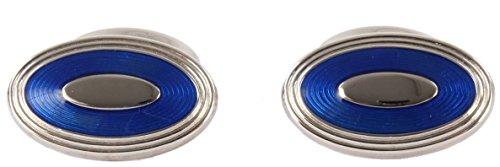Electric Blue Oval émail boutons de manchette de David Aster