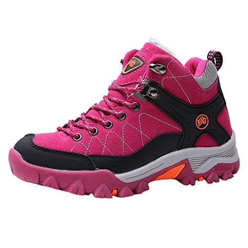 Wanderstiefel Paar Stiefeletten Walkingschuhe Damen Herren Trekking- und Wanderschuhe Plus Samt Sneaker Baumwollschuhe Rutschfeste Kletterschuhe Trekkingschuhe Turnschuhe, Pink