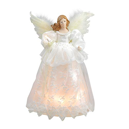 Kurt Adler Indoor 10-Light 14.5-Inch Ivory Angel Treetop