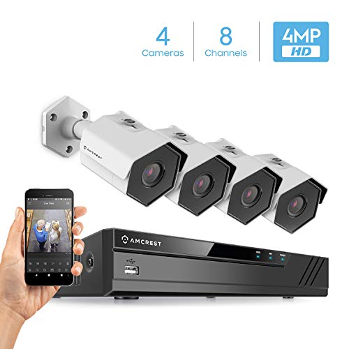 Amcrest 4MP Security Camera System, 4K 8CH PoE NVR, (4) x 4-Megapixel 3.6mm Wide Angle Lens Weatherproof Metal Bullet POE IP Cameras, Hard Drive Not Include, NV4108E-HS-IP4M-1026EW4 (White)