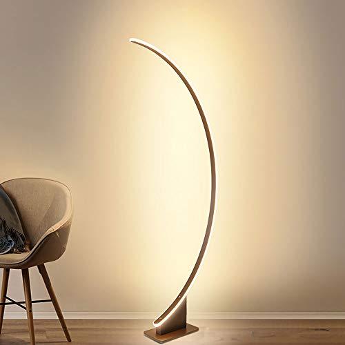 Lámpara de pie LED marrón, interruptor de pie, mando a distancia, regulación continua, 52 W3500 lm, luz ajustable, moderna, creativa, única lámpara de pie perfecta para dormitorio, salón, comedor