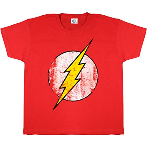 DC Comics The Flash Logotipo Apenado Camiseta de los Muchachos Rojo 5-6 años