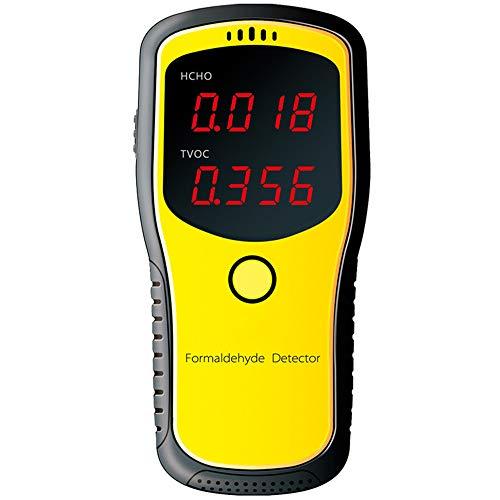 JUZEN Luftdetektor Tragbares LCD-Digital-Kohlendioxid-Messgerät CO2-Monitor PM2.5 Formaldehyd-Detektor für Innenluftqualität, gelb