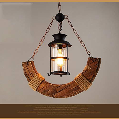 SSLW Boot Hölzerne Kronleuchter Industrial Wind Personality Bar Loft Diffus Coffee Restaurant Holz Beleuchtung,Brown