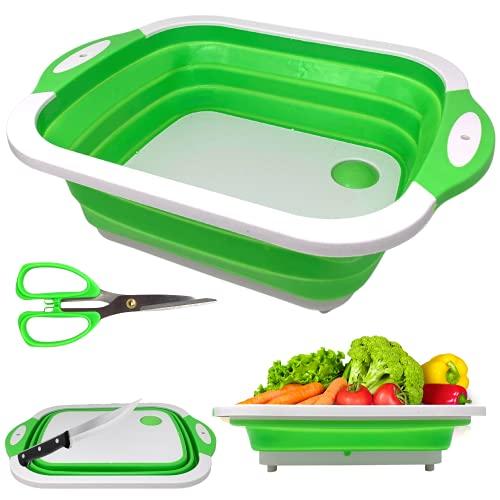 NAMAI Tabla de cortar multifunción 3 en 1 más tijeras, camping, accesorios de cocina, tabla para fregadero de cocina, blanco y verde