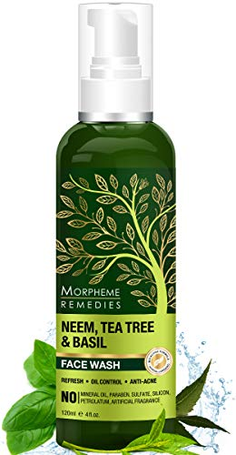 Morpheme Remedies Neem, Tea Tree & Basil Face Wash For Oil Control, Anti Acne - No Parabens, Sulphate, Silicones - 120ml
