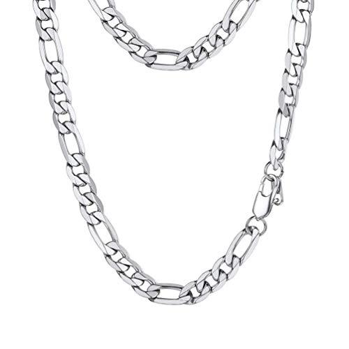 PROSTEEL Damen Herren Edelstahl glänzend Figarokette 9mm breit Halskette 1+3 Gliederkette 46cm/18 Kettelänge Hip Hop Modeschmuck Accessoire
