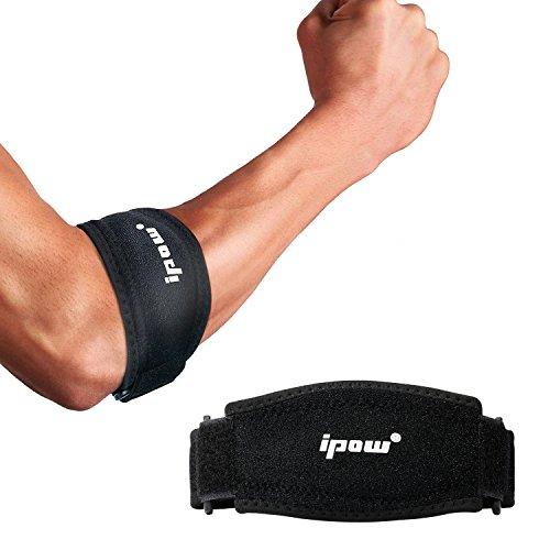 ipow 2 Pack Ellenbogenbandagen mit Kompressionskissen für Unterstützung, weich und atmungsaktiv, Tennisarm Golferarm Manschette Bandage Unisex einstellbar für Damen und Herren