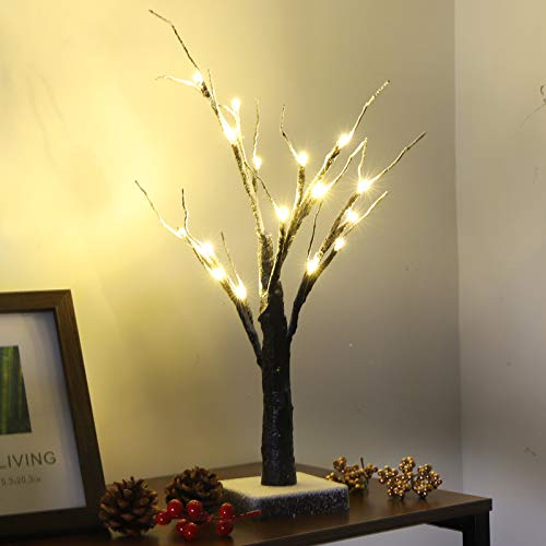 Ukmaster Twig Branch Tree 16 LED Warm White Lights Bonsai Christmas Tree Branches Cover Snow Brown Frosted Artificial Twig Tree Lighted Twig for Home Holiday Party Decoration Battery Operated
