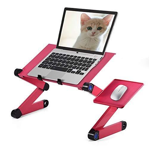 Ejoyous - Mesa de Escritorio para Ordenador portátil, Ajustable a 360 Grados y Plegable, con 2 Ventiladores Integrados, con Plataforma de ratón, Color Rojo