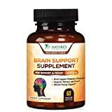 Brain Supplement 1000mg - Premium Nootropic Brain Support - Made in USA - Naturally Supports Focus & Clarity, Helps Memory, Assists Concentration with DMAE, Bacopa Monnieri - 60 Capsules