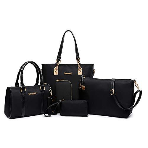 Juego de bolsos y bolsos para mujer, 6 unidades, color azul, color Negro, talla 33 EU