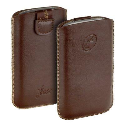 Original t-case Etui Tasche Hülle in Braun aus echtem Leder und neuem Verschlussmechanismus für Ihr Motorola Defy Mini XT320 inkl. dem Original YAYAGO Clean-Pad
