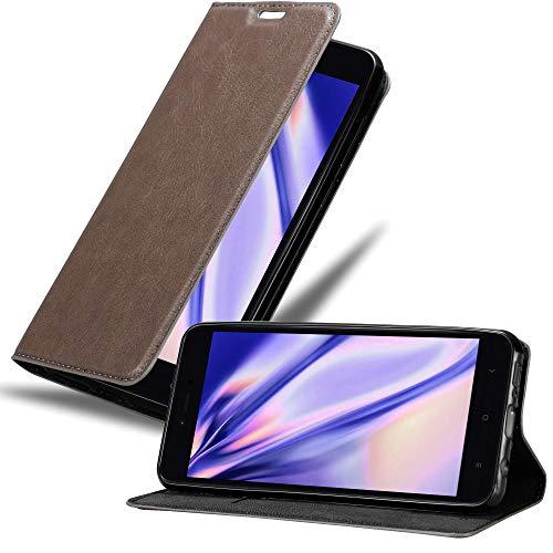 Cadorabo Funda Libro para Xiaomi RedMi Note 5A Prime en MARRÓN CAFÉ - Cubierta Proteccíon con Cierre Magnético, Tarjetero y Función de Suporte - Etui Case Cover Carcasa