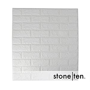 Craft Faux Brick Wall Panels - Peel and Stick Foam Brick - 3D Wall Panels for Fake Brick Wall - Self Adhesive Brick Wall Panels - 3D Brick Wallpaper (20 pack, White)