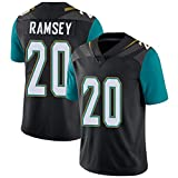 Rugby Jersey Polo Shirt de Football pour Hommes, 20# Jalen Ramsey Jacksonville Jaguars American Jersey, Elite Edition Sleeve Print Top Embroidery Short-Black-XXL
