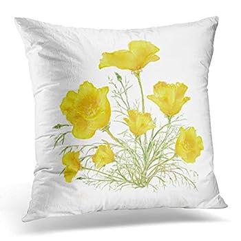 Jbralid Floral Original Green Yellow California Poppy Watercolor Flower Wildflower Pillow Cover Hidden Zipper Cotton Indoor Throw Pillow Case Cushion 16x16 in