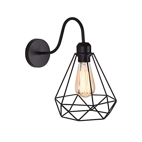 WOWEWA Apliques de Pared Vintage Jaula Lámpara Industrial Lámpara de Pared,Casquillo E27,Color Negro,Metal Sconce sombra de iluminación