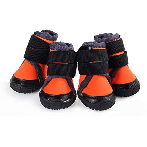 Zapatos para Perros Impermeable Transpirable Deportes Botas Antideslizantes Senderismo Protector de Patas para Mascotas para Perros Pequeños Medianos y Grandes,Orange,45