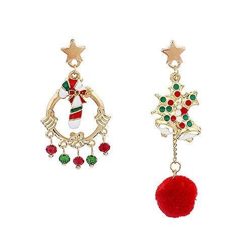 Pendientes de tuerca de Navidad Asimetría de Navidad con forma de campana, diseño de gota de dulces, día festivo, Acción de Gracias, Navidad, regalo de joyería para mujeres