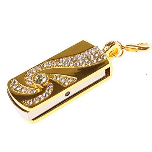 DALIANMAO Metal Crystal Gold Acero Inoxidable Llavero Rotario Moda Moda Flash USB 8GB 16GB Pendrive 32GB Pen Drive Memory Stick U Dish (Capacity : 128GB)