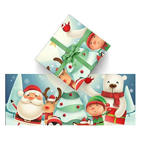 CUXWEOT Gift Wrapping Paper Christmas Santa Claus Reindeer for Christmas,Birthday,Holiday,Wedding,Gifts Packing - 3Rolls - 58 x 23inch Per Roll