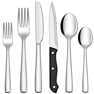Hiware 48-Piece Silverware Set with Steak Knives for 8, Stainless Steel Flatware Cutlery Set For Home Kitchen Restaurant Hotel, Mirror Polished, Dishwasher Safe