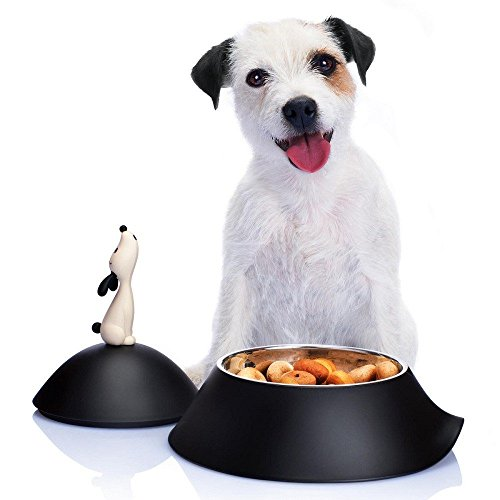 Alessi AMMI19 B Lula' Dog Bowl, Black, Black
