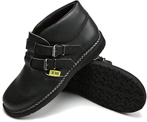 JOB Dachdecker-Schuhe MAX II Leder, halbhoch mit 2 Schnallen, schwarz (46)