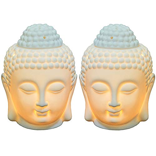 Moylor Buddha Head Essential Oil Diffuser Set of 2, Buddha Aromatherapy Diffuser Ceramic Candle Holder Incense Burner (White)