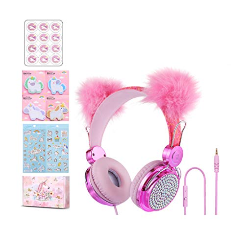 Unicorn Kids Headphones Children Girls Teens Foldable Adjustable Headband On Ear Headphones Stereo Tangle-Free Cord 3.5mm Jack Compatible iPad Cellphones Computer MP3/4 Kindle Airplane-Pink ball8
