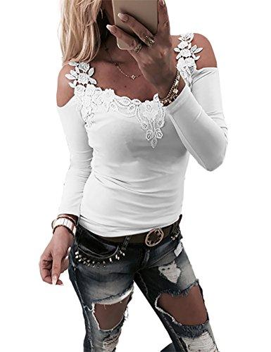 Boutiquefeel Damen Lace Patchwork Schulterfreie Slim Fit Bluse Oberteile Tops Weiß S