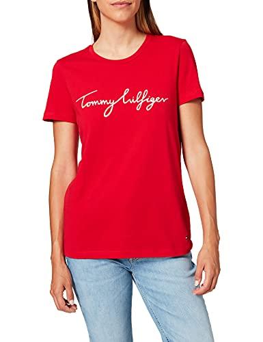Tommy Hilfiger WW0WW28682 Camiseta, Primary Red, Small para Mujer