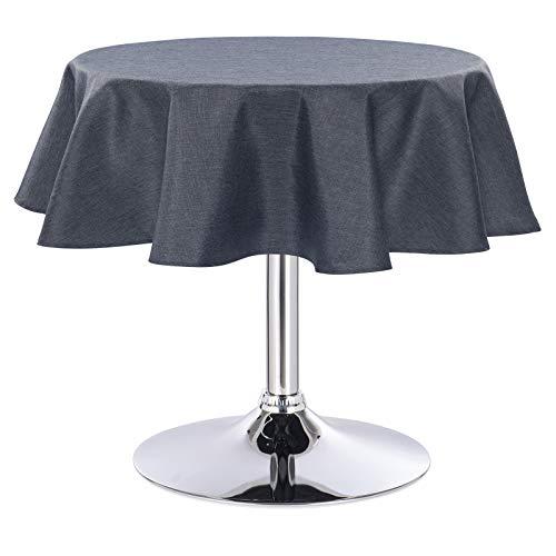 Laneetal 0800065 Tischdecke Leinendecke Leinenoptik Wasserabweisend Lotuseffekt Tischtuch Fleckschutz pflegeleicht abwaschbar schmutzabweisend Rund 140 cm Grau