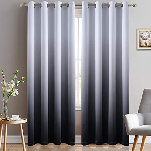 Yakamok Room Darkening Black Gradient Color Ombre Blackout Curtains with Grommet Thickening Polyester Thermal Insulated Window Drapes for Living Room/Bedroom (Black, 2 Panels, 52x84 Inch)